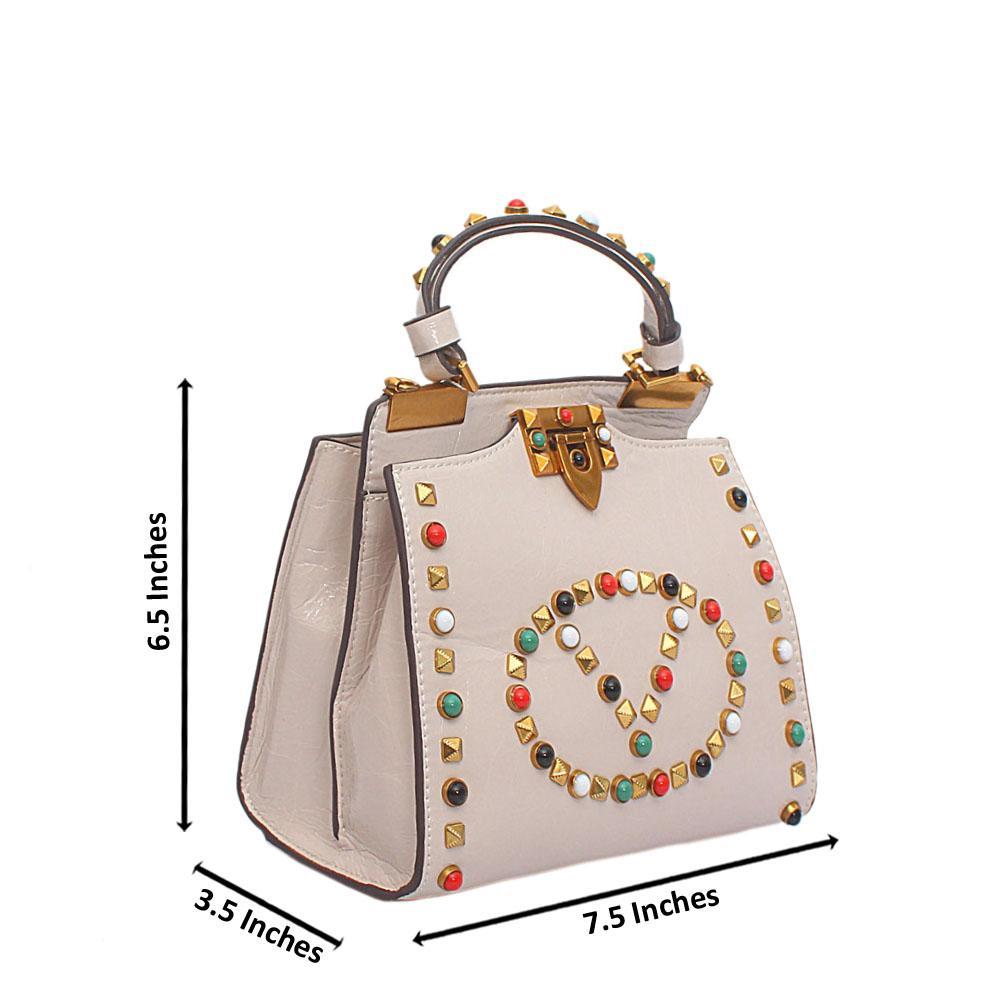 White Studded V Mini Montana Leather Handbag