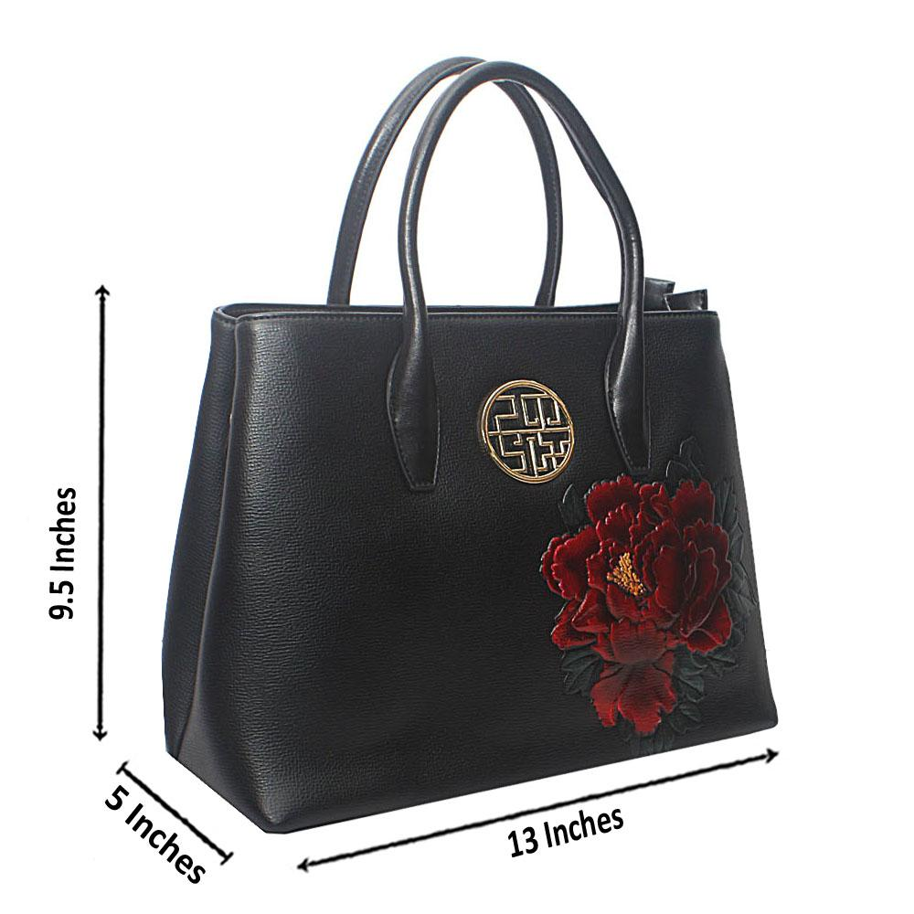 PMSix Black Floral Embossed Patterned Cow-Leather Handbag