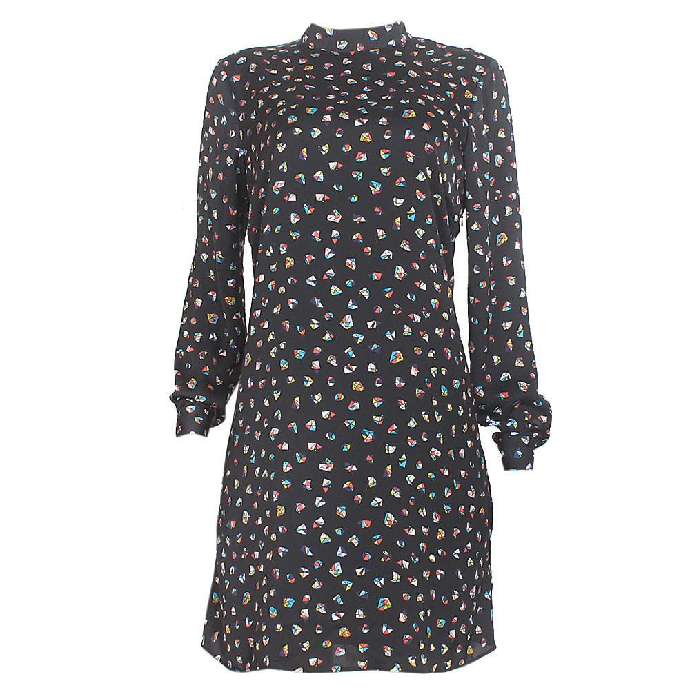 M & S Black Mix L/Sleeve Chiffon Dress Sz-Uk 16