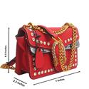 Red Leather Super Mini Bag Wt Crystals