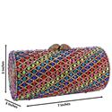Dark Multicolored Scroll Diamante Crystals Clutch Purse