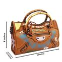 Brown Leather Small City Bae Handbag