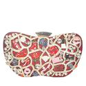 Wine Ariel Pattern Stud Glitz Leather Hard Clutch Purse