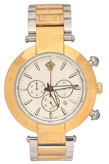 Versace Silver Gold Men Chronograph Watch