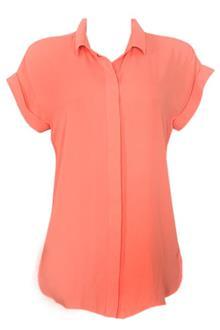 M & S Collection Orange S/Sleeve Ladies Chiffon Top