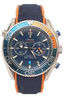 Omega Seamaster Blue Orange Woven Men Chronograph Watch