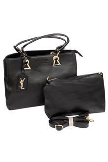 YSL Black Leather Medium Tote Handbag Wt Purse