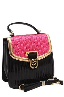 Ling Xiu Pink Black Patent Leather Medium Crossbody Bag