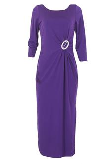 Glamour Purple L/Sleeve Ladies Cotton Dress