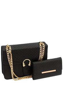 Gucci Black Leather Medium Crossbody Bag Wt Purse