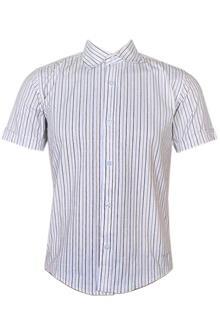 Timder Land White Mix Striped Slim Fit S/Sleeve Men Shirt