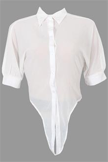 White S/Sleeve Ladies Chiffon Top Shirt