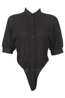 Black S/Sleeve Ladies Chiffon Top Shirt