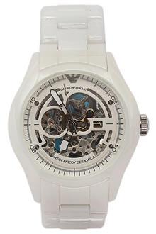 Emporio Armani Meccanico White Ceramic Men Skeleton Watch