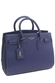 YSL Blue Leather Small Tote Handbag