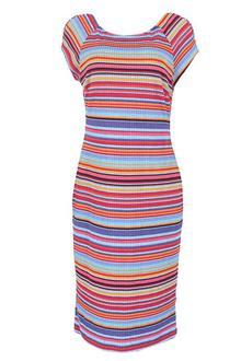 Beige Multicolor Ladies S/Sleeve Lycra Dress
