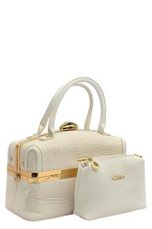 Susen White Leather Medium Tote Bag Wt Purse