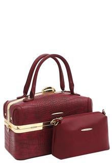Susen Wine Leather Medium Tote Bag Wt Purse