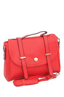 Red Leather Ladies Crossover Bag