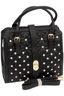 Black Crystal Studded Leather Medium Tote Handbag