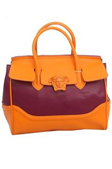 Versace Orange Purple Leather Medium Handbag