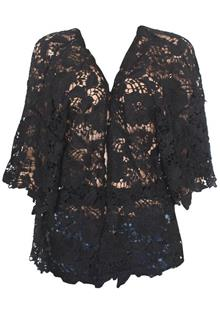 Rich & Beautiful Black S/Sleeve Ladies Lace Jacket