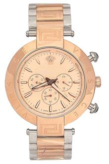 Versace Silver Rose Gold Men Chronograph Watch