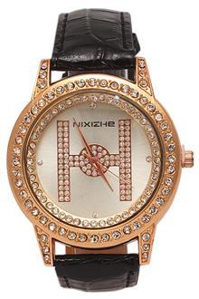 Nixizhe Rose Gold Studded Black Leather Ladies Dress Watch