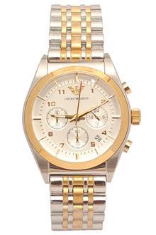 Emporio Armani AR-0396 Silver Gold Men Chronograph Watch
