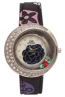 Dodge Silver Studded Black Leather Ladies Flat Watch