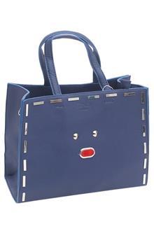 Fendi Blue Leather Small Tote Handbag