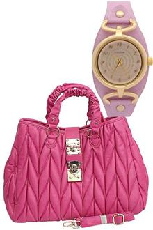 Fashion Pink Leather Ladies Handbag WT Free Watch