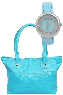 Fashion Blue Leather Ladies Handbag Wt Free Watch