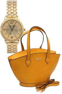 Viviq Yellow Leather Big Handbag Wt Free Watch