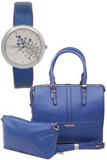 Tom Ford Blue Leather Medium Handbag Wt Purse & Free Watch