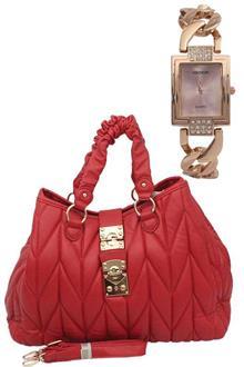 Fashion Red Ladies Handbag Wt Free Watch