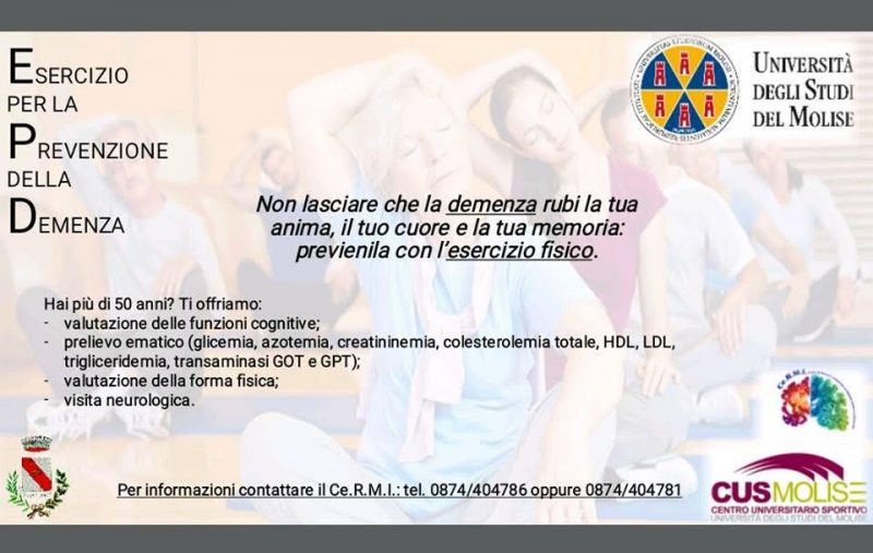 Lo sport per la prevenzione della demenza, l'iniziativa del Cus Molise e del Ce.R.Mi.