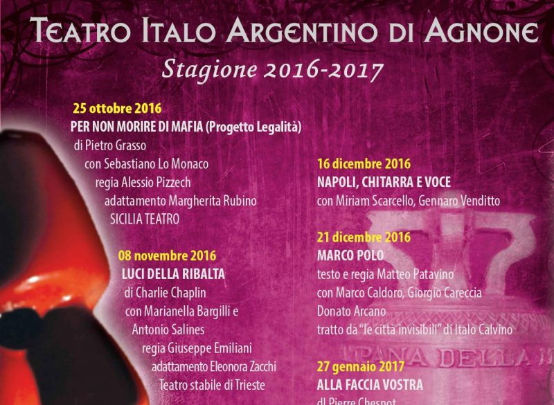 """Teatro Italo Argentino, la nuova stagione per Agnone """"Citt? d'Arte"""""""