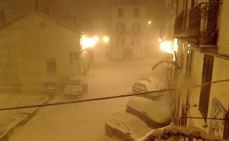 A Capracotta la prima nevicata della stagione