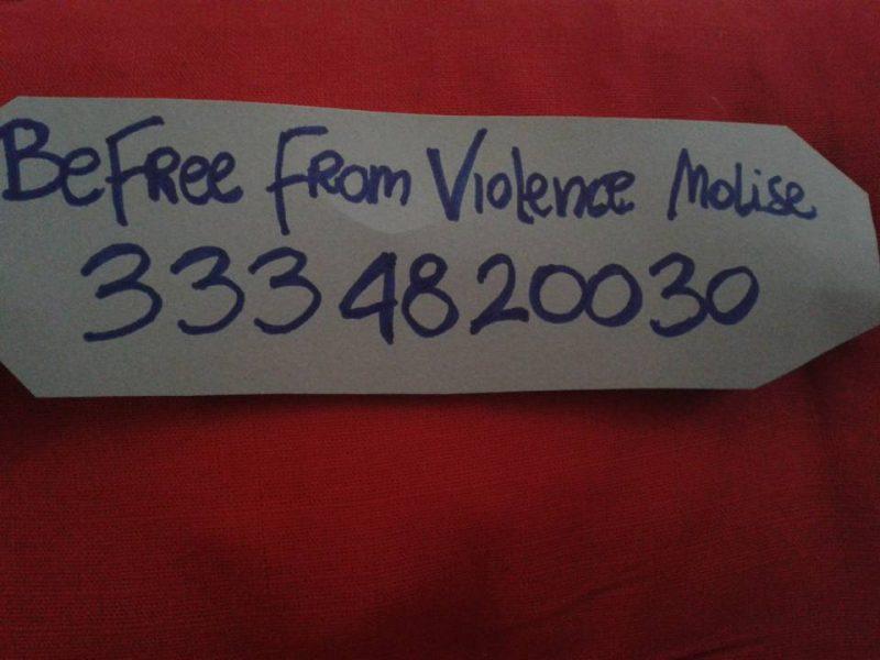 Domani in piazza Pepe per diffondere 3334820030, il numero del Centro antiviolenza Befree Molise