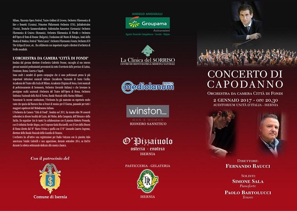 EVENTI – Concerto di Capodanno all'Auditorium di Isernia