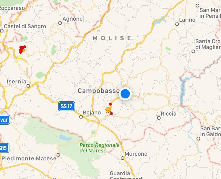 Terremoto, lieve scossa alle porte di Campobasso