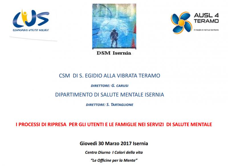 """""""I processi di ripresa per gli utenti e le famiglie nei servizi di salute mentale"""", incontro formativo a Isernia"""
