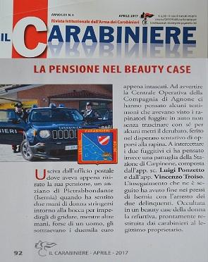 """Sventata rapina a un anziano. Il caso sulla rivista """"Il Carabiniere"""""""