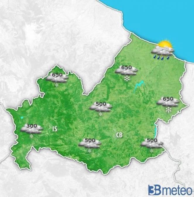 Meteo Molise: prevista neve fino a 700m