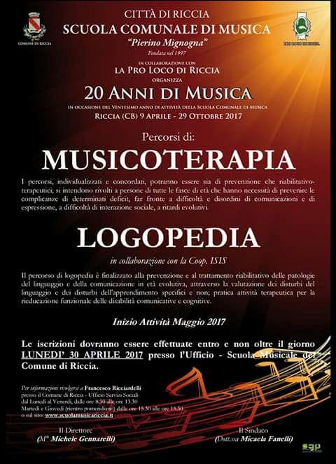Iscrizioni a corsi di musicoterapia e logopedia aperte fino al 30 aprile