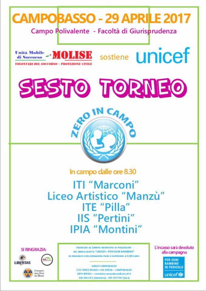 CUS Molise e UNICEF insieme per beneficenza. Domani il sesto torneo Zero in Campo