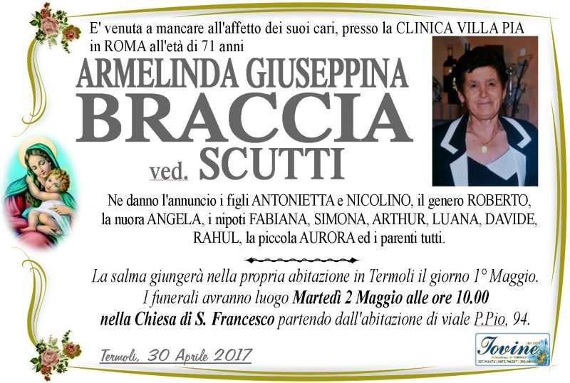 Armelinda Giuseppina Braccia ved. Scutti – 30/04/2017 – Termoli