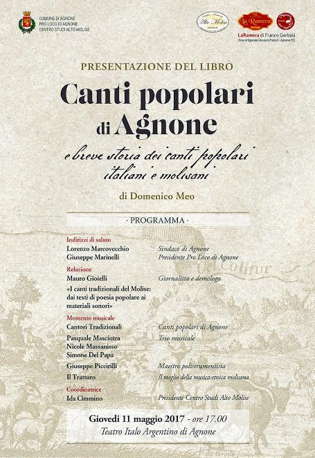 """Presentazione libro """"Canti popolari di Agnone"""""""