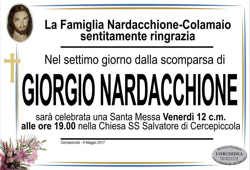 Ringraziamento Famiglia Nardacchione –  Colamaio, Cercepiccola
